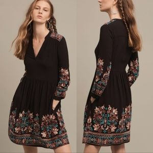 ANTHROPOLOGIE Floreat Avery Embroidered Dress L